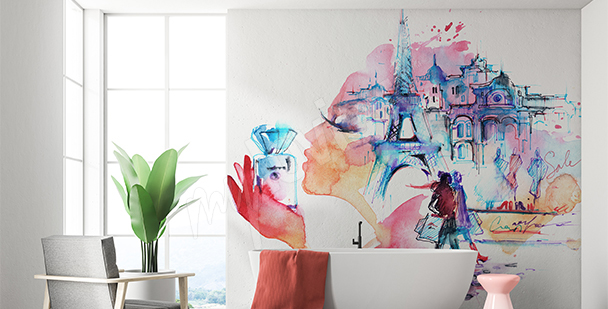 Wall mural Eiffel Tower watercolor