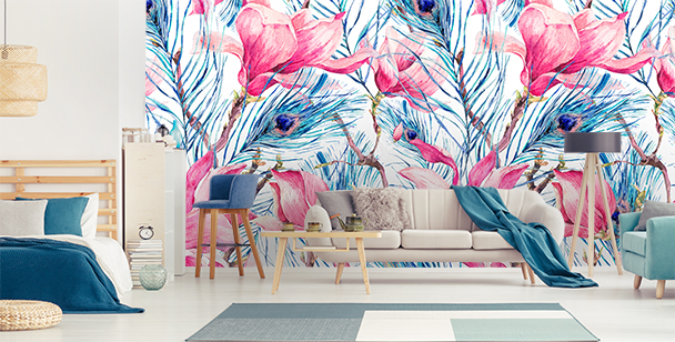 Wall mural feathers and magnolias