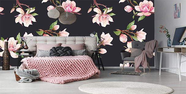 Wall mural magnolia pattern
