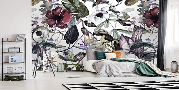 Wall mural magnolias and wild plants