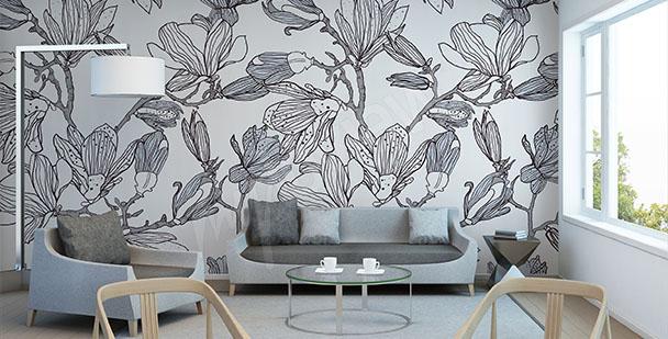 Wall mural magnolias sketch