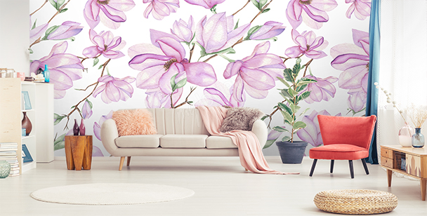 Wall mural pink magnolias