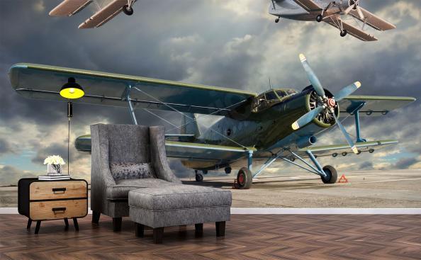 Wall mural retro airplane