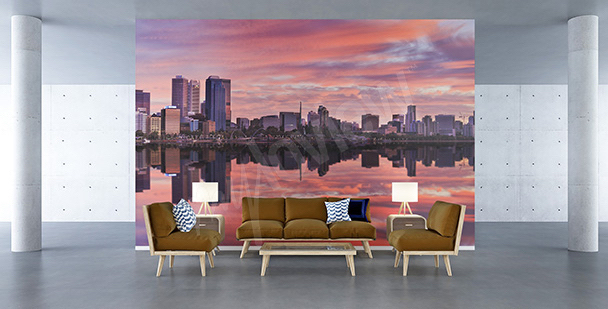 Wall mural sunrise in the city