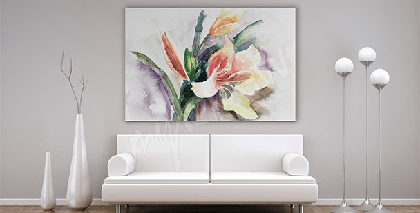 Watercolor canvas print living room