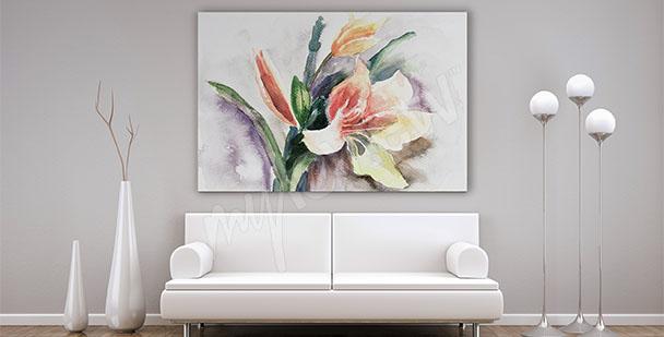 Watercolor canvas print living room