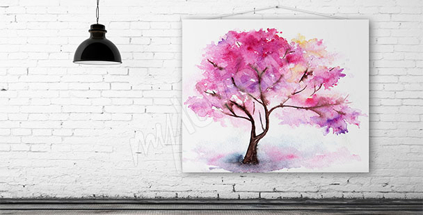 Watercolor canvas print of a cherry tree