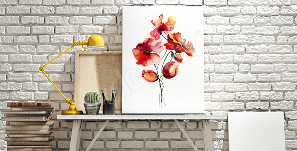 Watercolor canvas print poppies