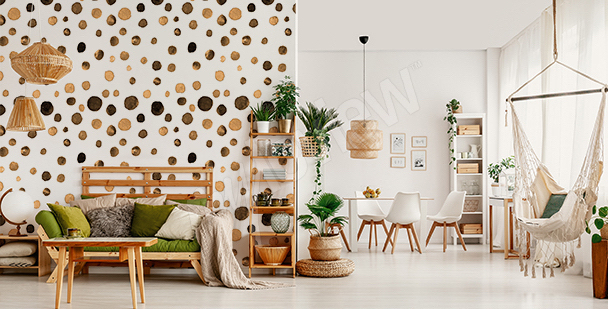Watercolor dots mural