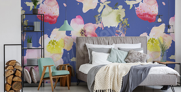 Watercolor flowers mural