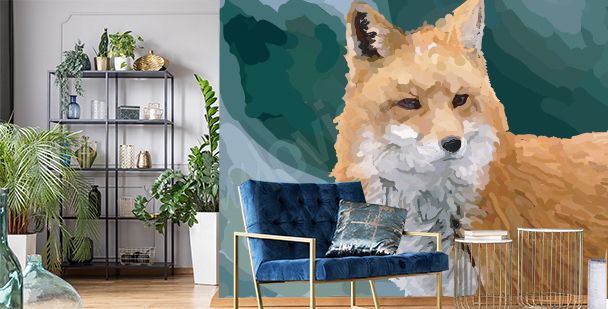 Watercolor fox mural