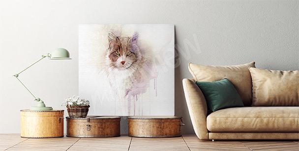 Watercolor fur ball canvas print