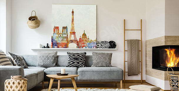 Parisian panorama sketch canvas print