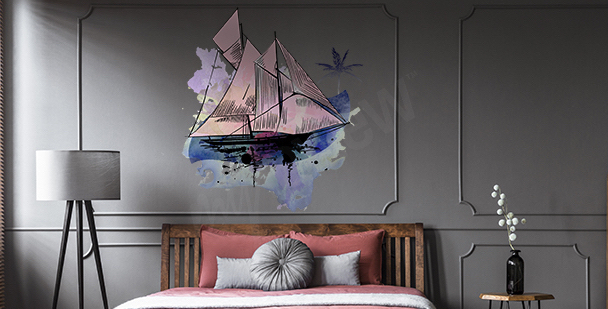 Watercolor sailing ship sticker