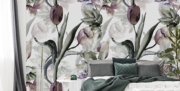 Watercolor tulips wall mural