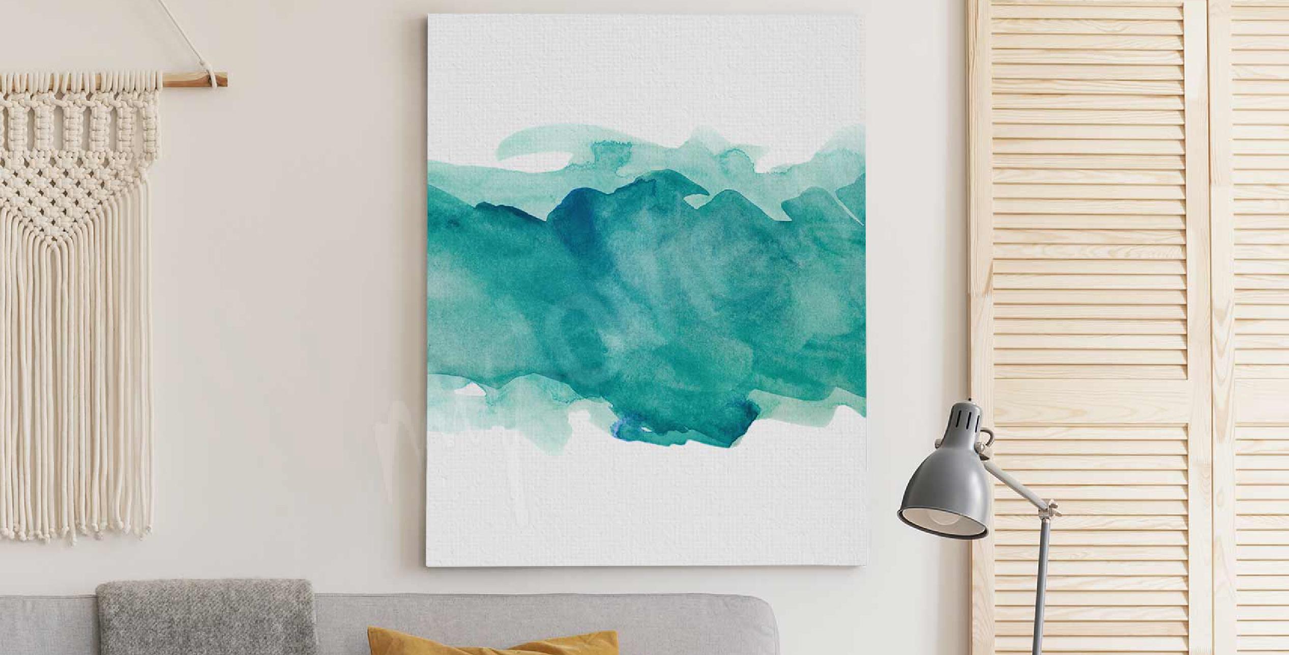 Watercolour aquamarine canvas print