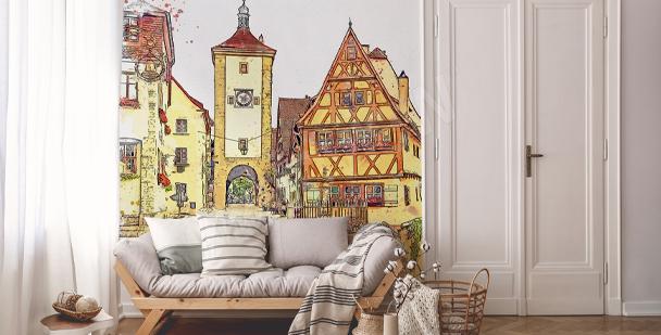 Watercolour buildings mural