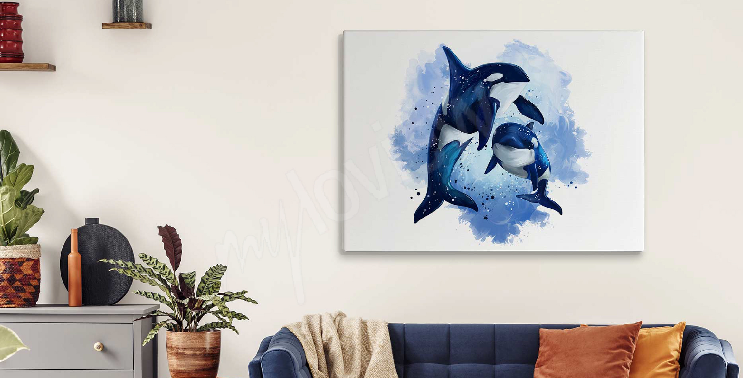 Watercolour canvas print with dolphins