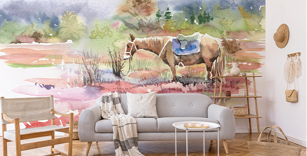 Watercolour horse mural