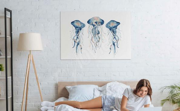 Watercolour jellyfish canvas print