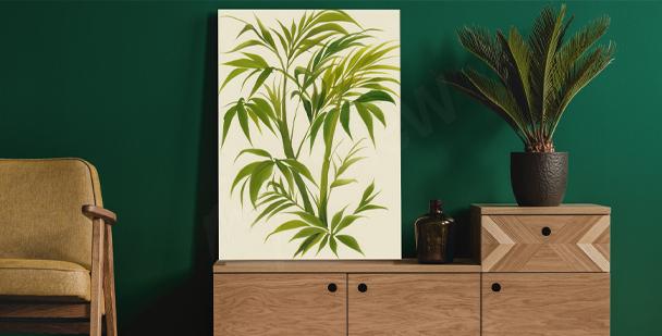 Watercolour leaves canvas print