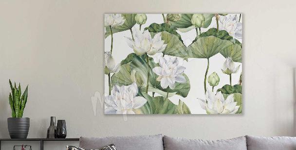 Watercolour lotus flower canvas print