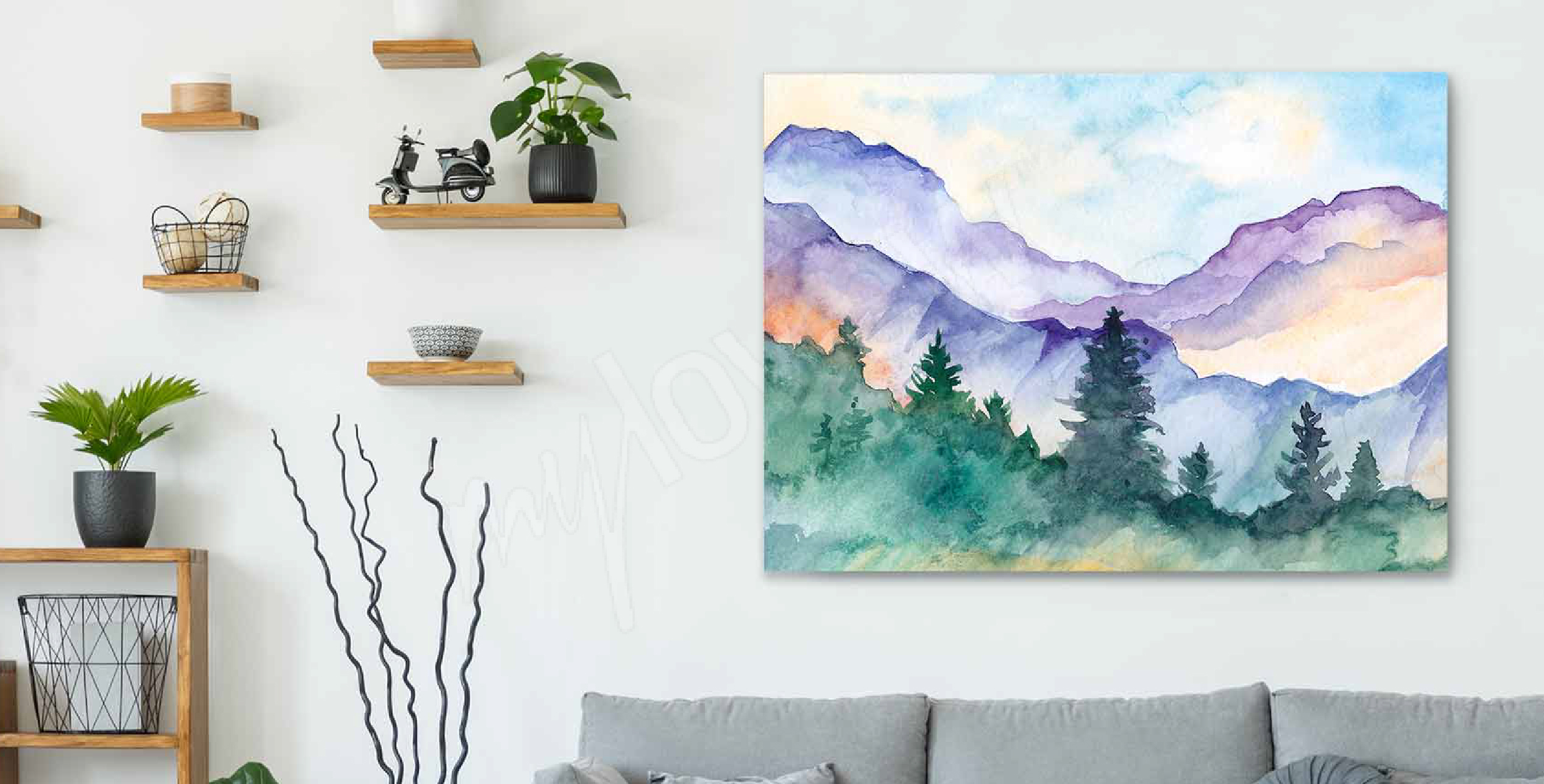 Watercolour mountainscape canvas print