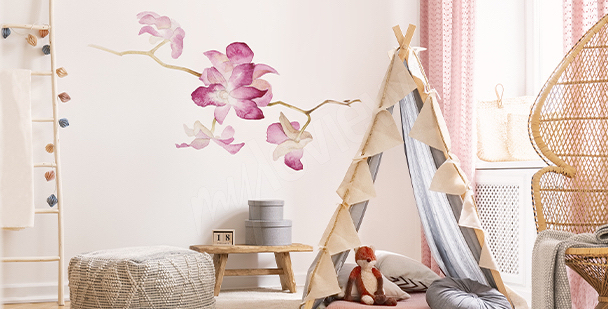 Watercolour orchid sticker