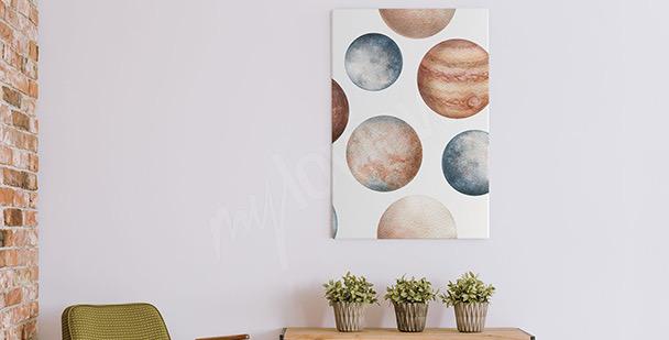 Watercolour planets canvas print