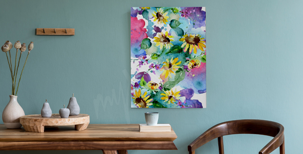 Sunflower canvas print for hall