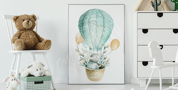 Watercolour rabbit poster