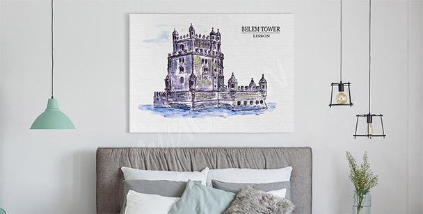 Watercolour tower canvas print
