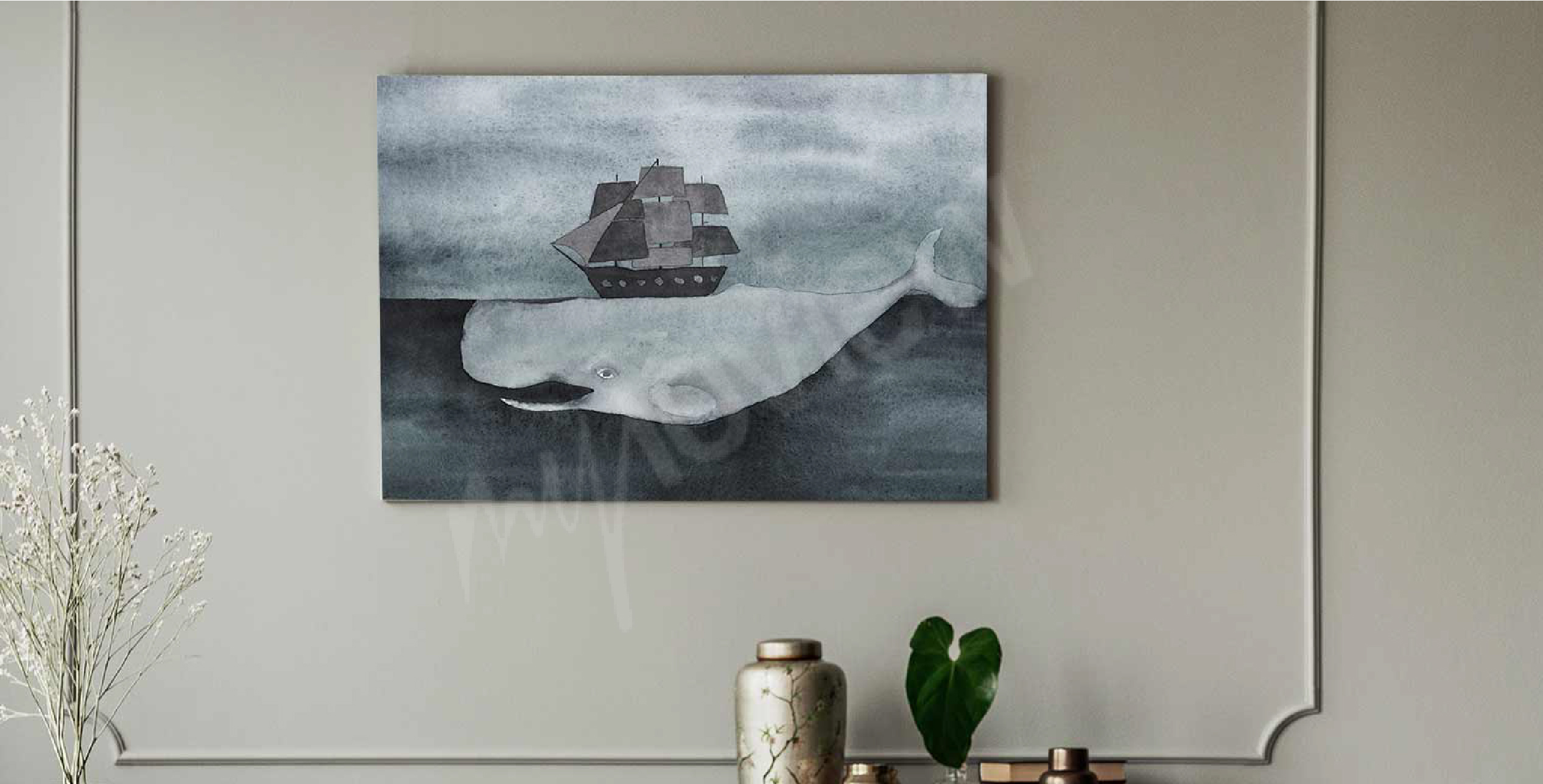 Watercolour whale canvas print