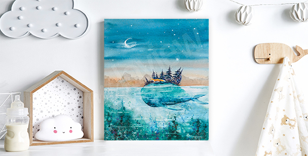 Whale and fox journey canvas print