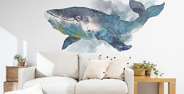 Whale living room sticker