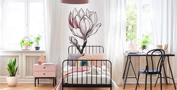 White magnolia sticker for a child's room