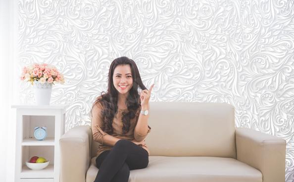 White ornament living room mural