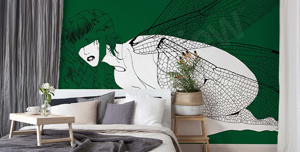 Winged woman wall mural