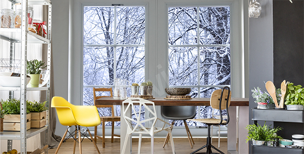 Winter landscape mural