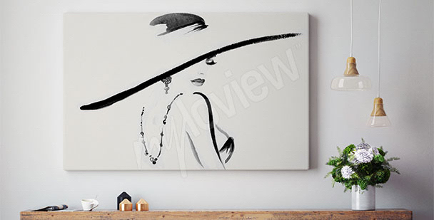 Woman in a hat canvas print