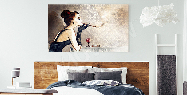 Woman in a restaurant canvas print