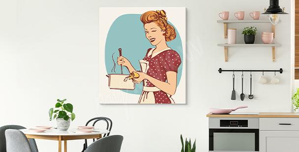 Woman kitchen canvas print