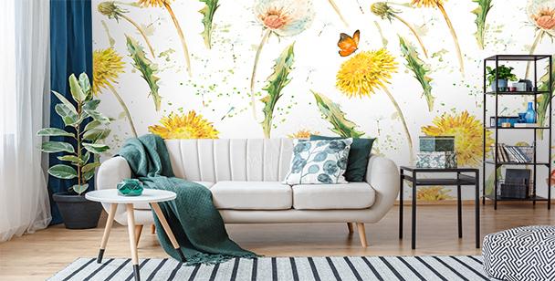 Yellow dandelions mural
