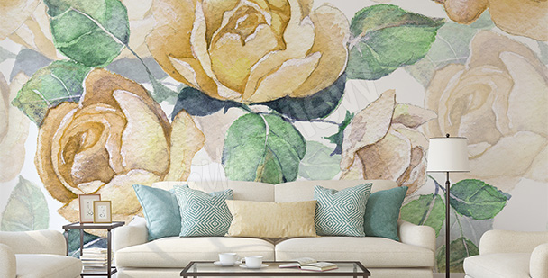 Yellow roses living room mural
