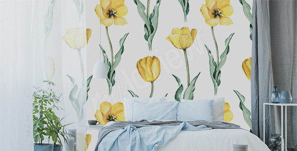 Yellow tulips wall mural