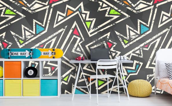 Zigzag wall mural for a boy's room